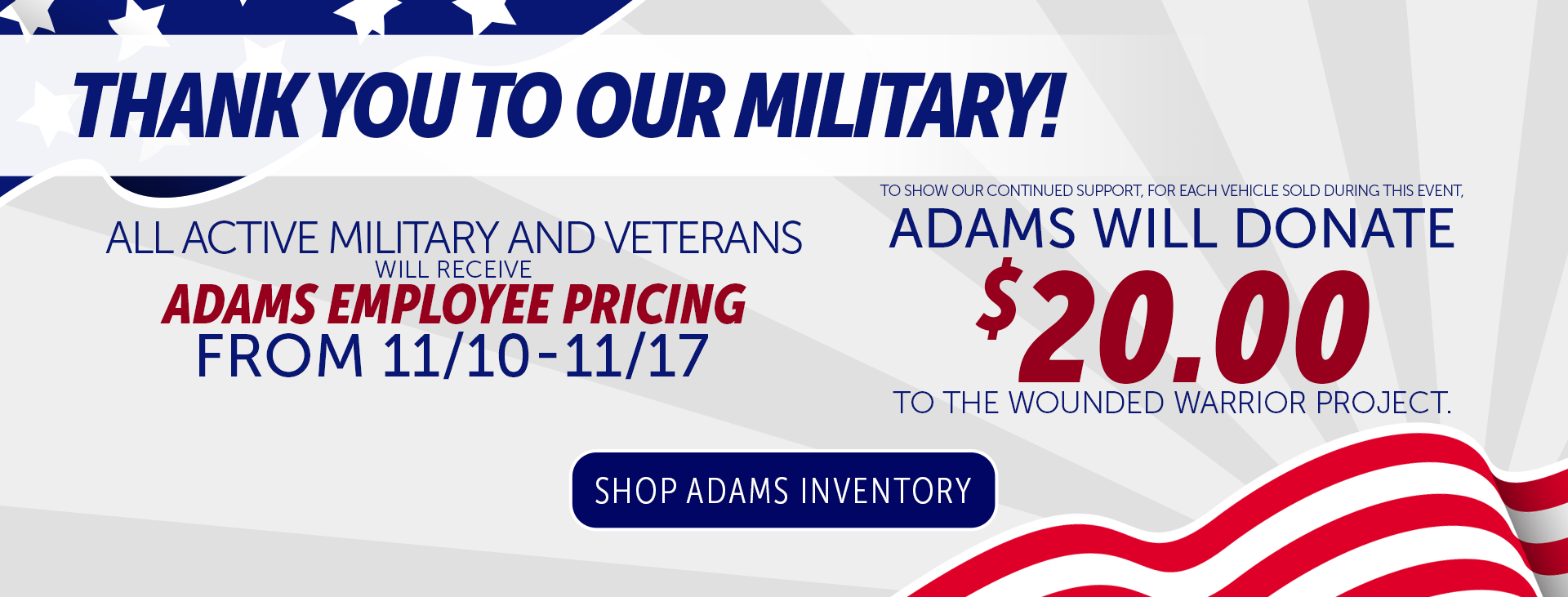 Veterans Day Sale Adams of Annapolis