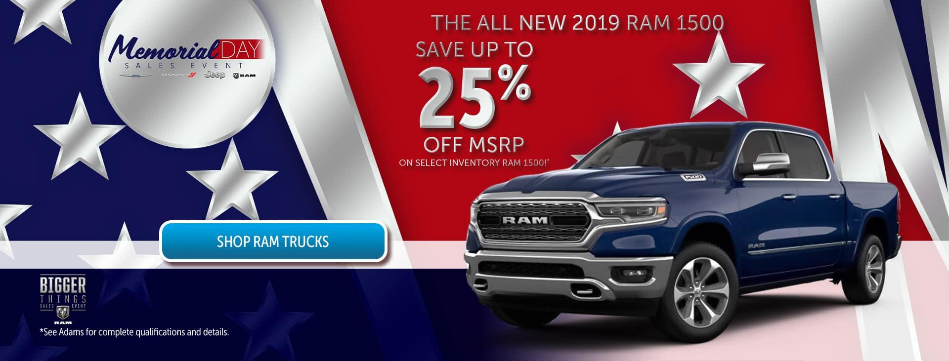 25% off Ram Trucks!