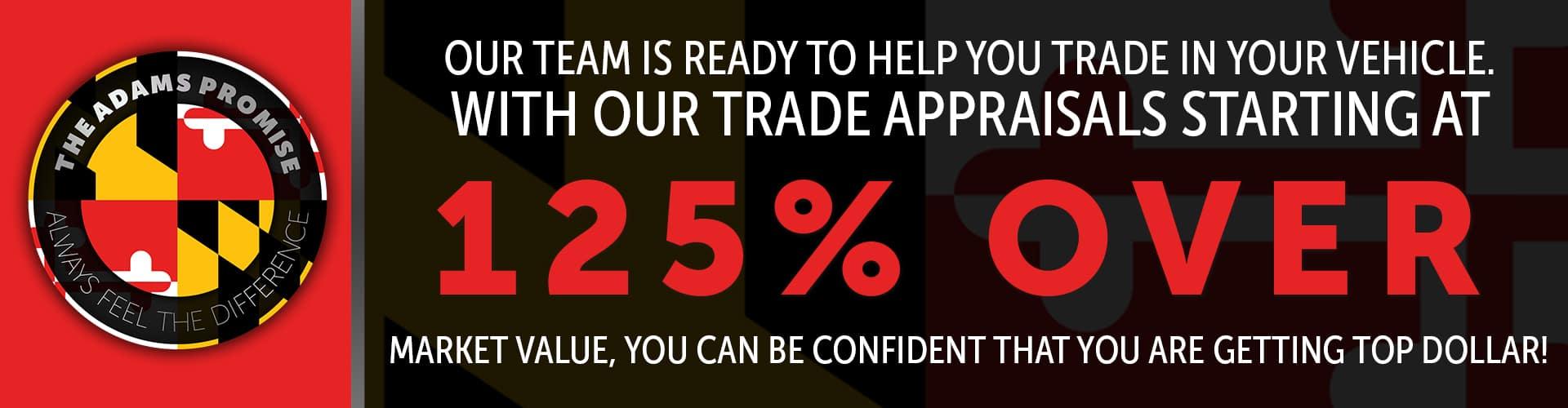 Trade Appraisals Starting at 125% Over Market Value!