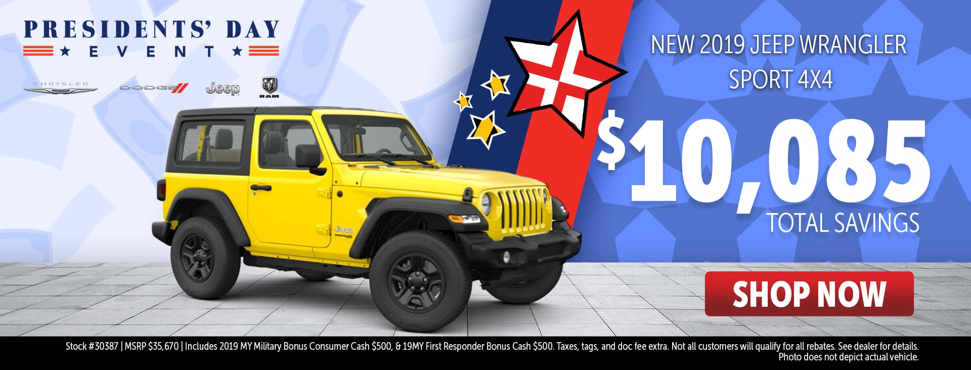 Presidents' Day Event Price for 2019 Jeep Wrangler