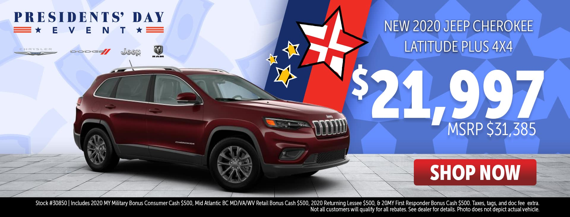 Presidents' Day Event Price for 2020 Jeep Cherokee