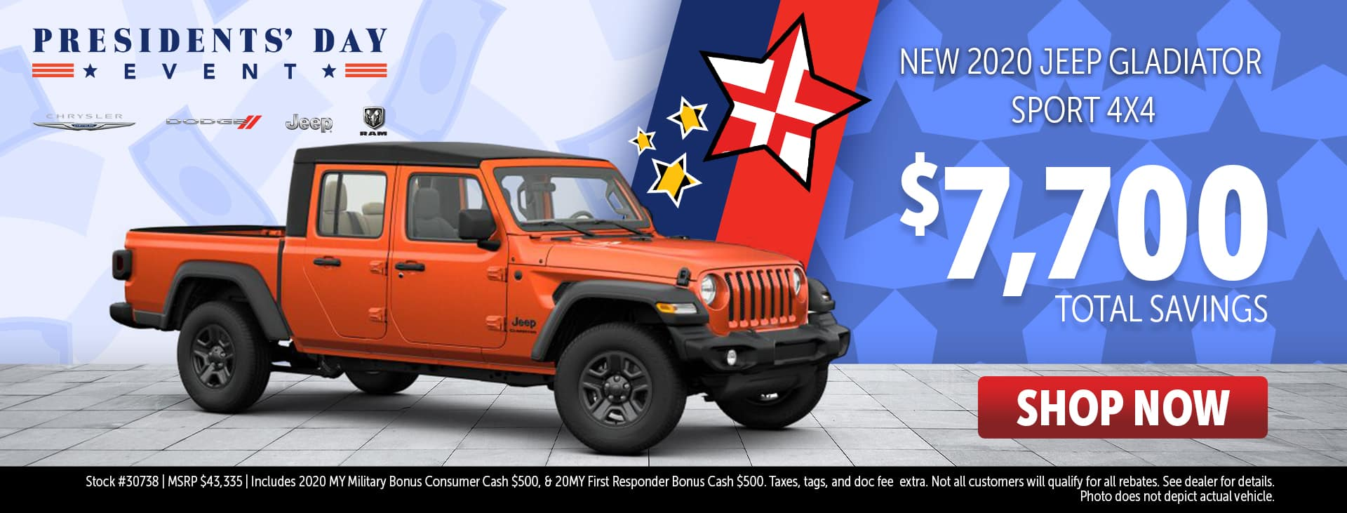 Presidents' Day Event Price for 2020 Jeep Gladiator