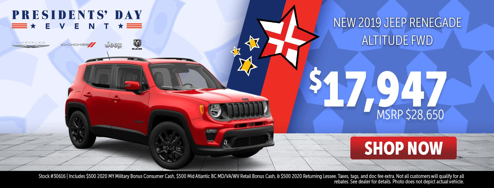 Presidents' Day Event Price for 2019 Jeep Renegade