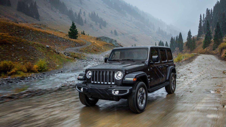 A black Jeep Wrangler
