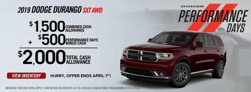 2019 Dodge Durango Performance Days Offer