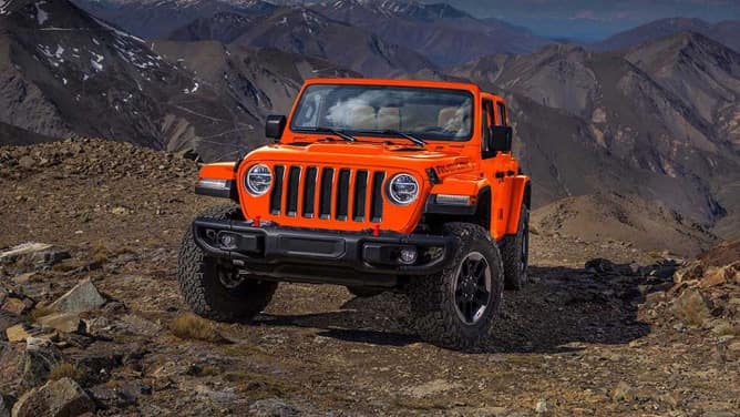 An oragne 2019 Jeep Wrangler