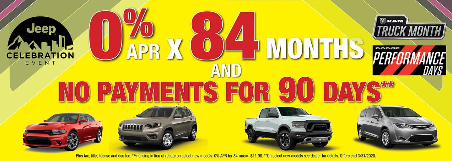 March 2020 - 0 APR x 84 mos and no payments for 90 days
