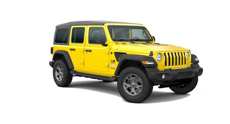 A yellow 2020 Jeep Wrangler Freedom
