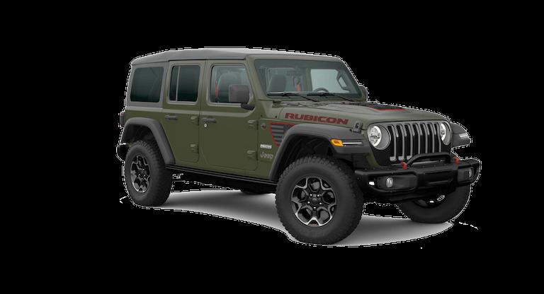 A green Jeep Wrangler Rubicon Recon