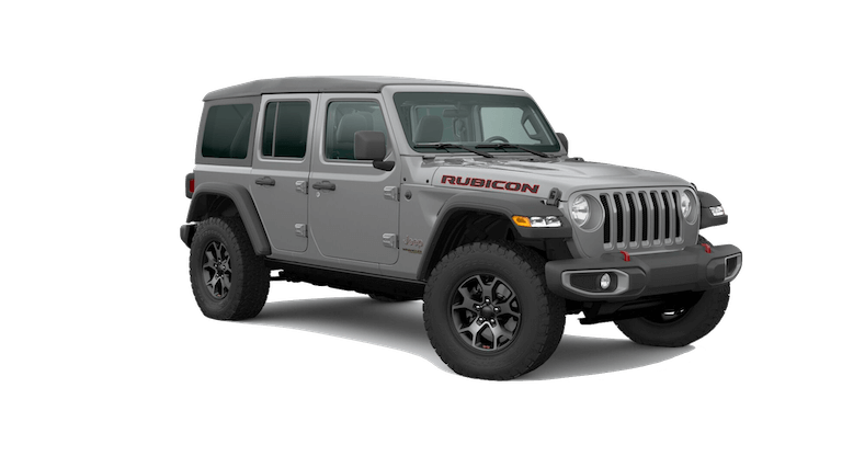 A silver 2020 Jeep Wrangler Rubicon