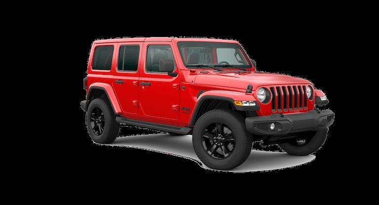 A red 2020 Jeep Wrangler Sahara Altitude