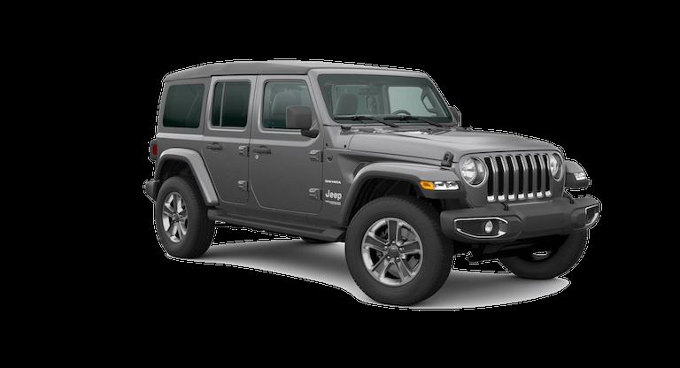 A silver 2020 Jeep Wrangler Sahara