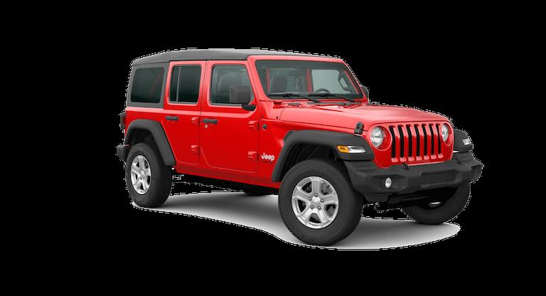 A silver 2020 Jeep Wrangler Sport S