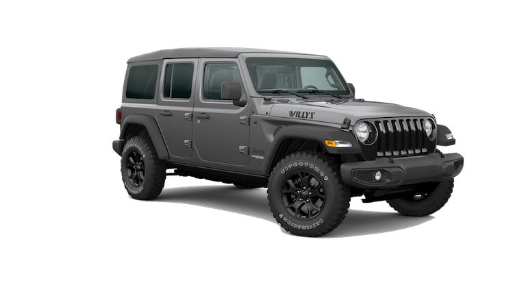 A silver 2020 Jeep Wrangler Willys Sport
