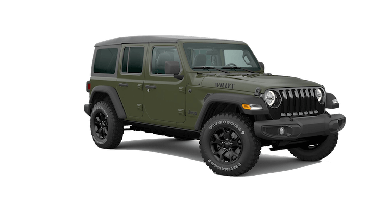 A green 2020 Jeep Wrangler Willys