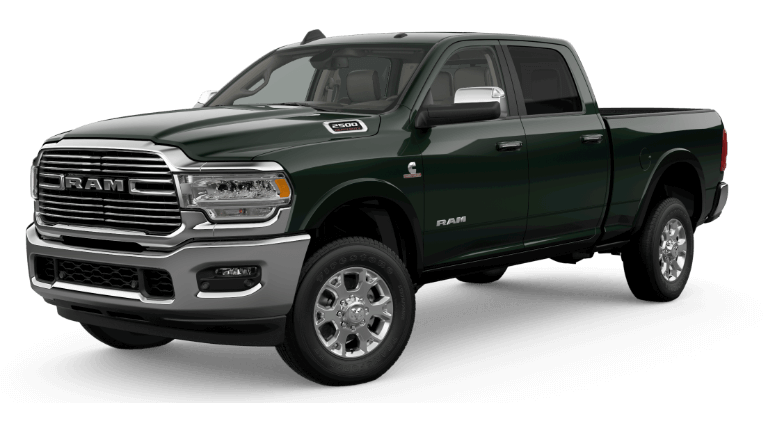 A green 2020 Ram 2500 Laramie