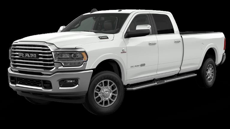 A white 2020 Ram 2500 Laramie Longhorn