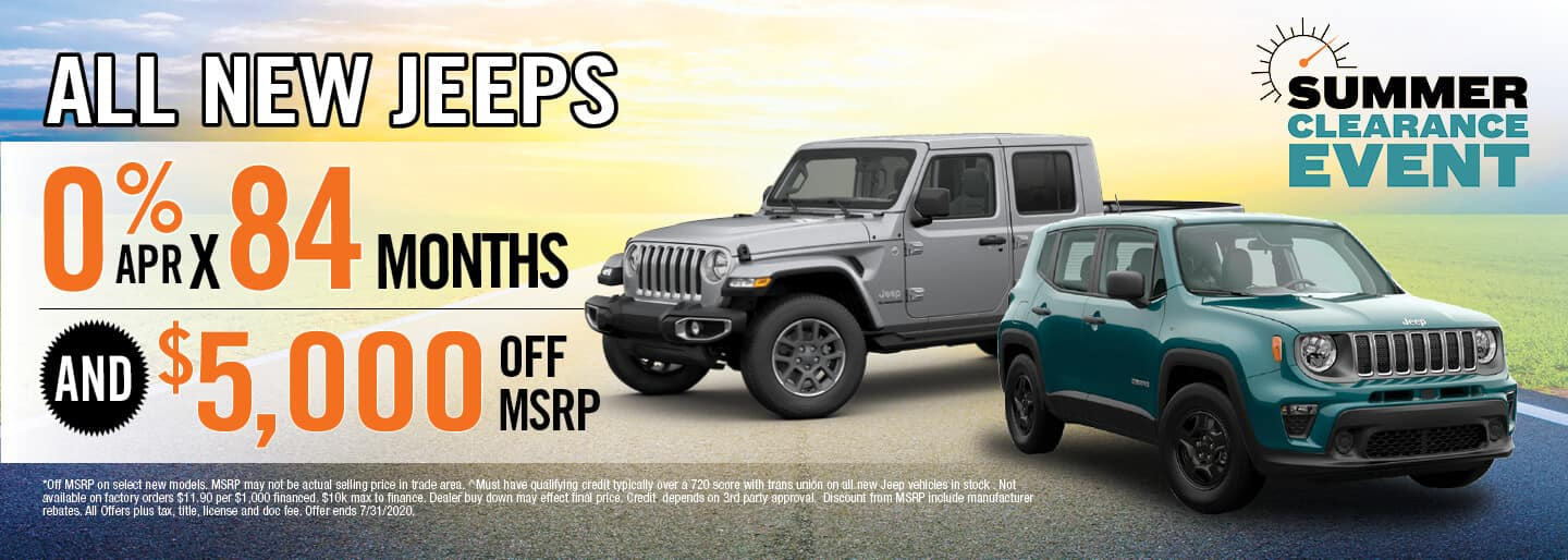 Get 0% APR x 84 Months & $5,000 off MSRP on new Jeep Models