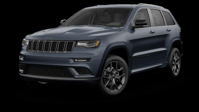A slate blue 2020 Jeep Grand Cherokee Limited X