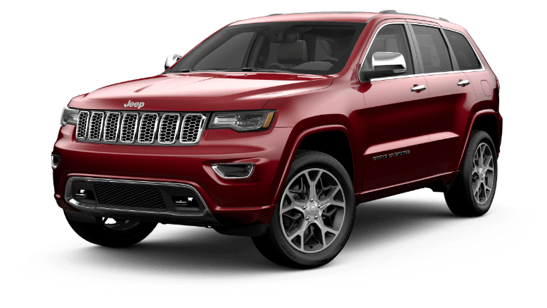 A red 2020 Jeep Grand Cherokee Overland