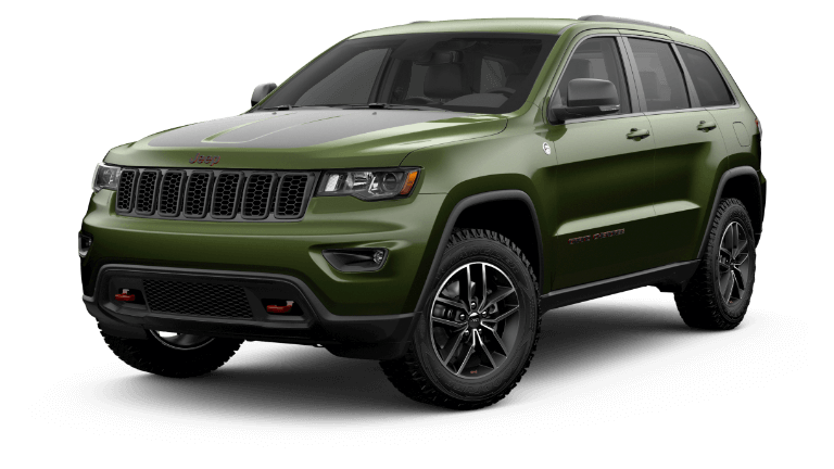 A green 2020 Jeep Grand Cherokee Trailhawk