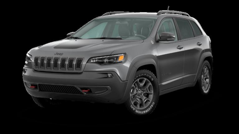 A silver 2020 Jeep Cherokee Trailhawk
