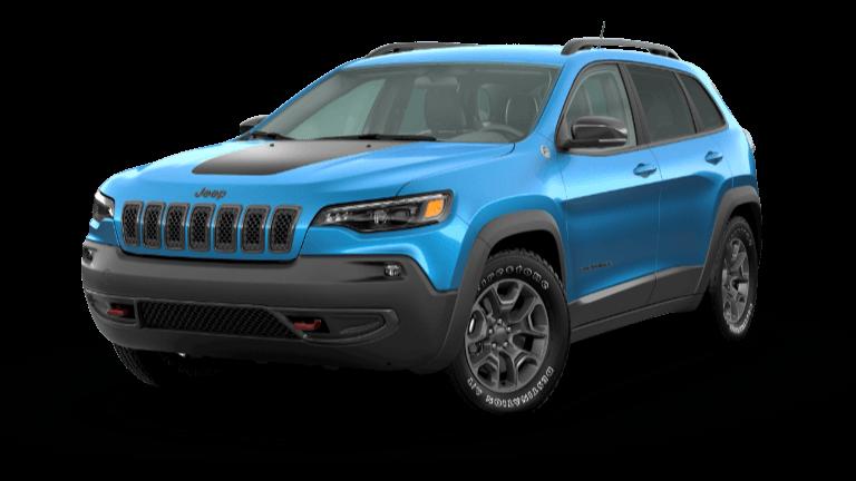 A blue 2020 Jeep Cherokee Trailhawk Elite
