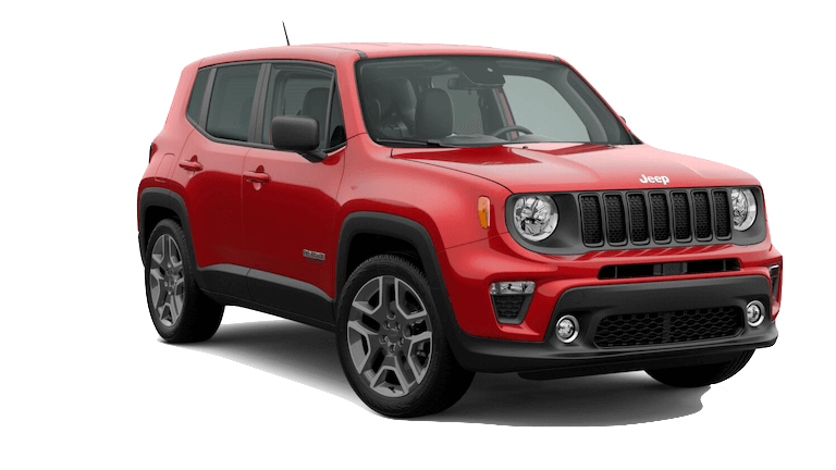 A red 2020 Jeep Renegade Jeepster