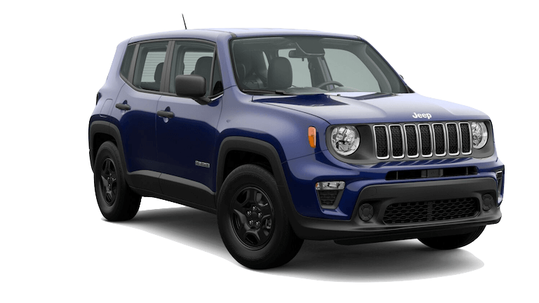 A blue 2020 Jeep Renegade Sport