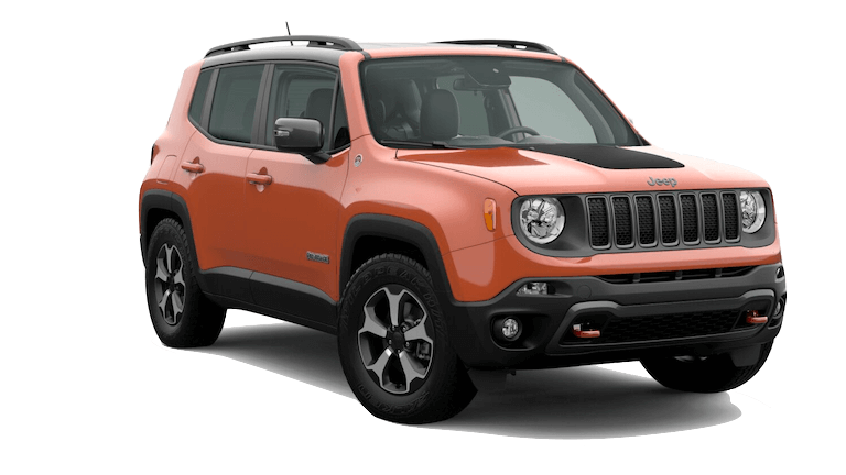 An orange 2020 Jeep Renegade Trailhawk