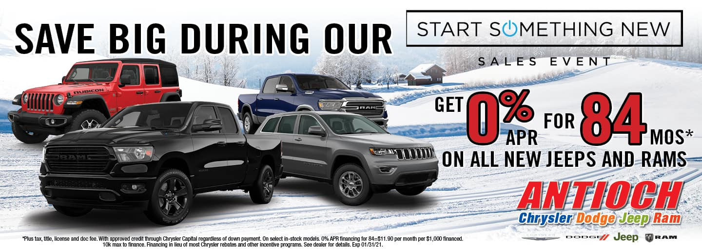 0% APR for 84 mos on all new Jeeps and RAMs | Antioch, I