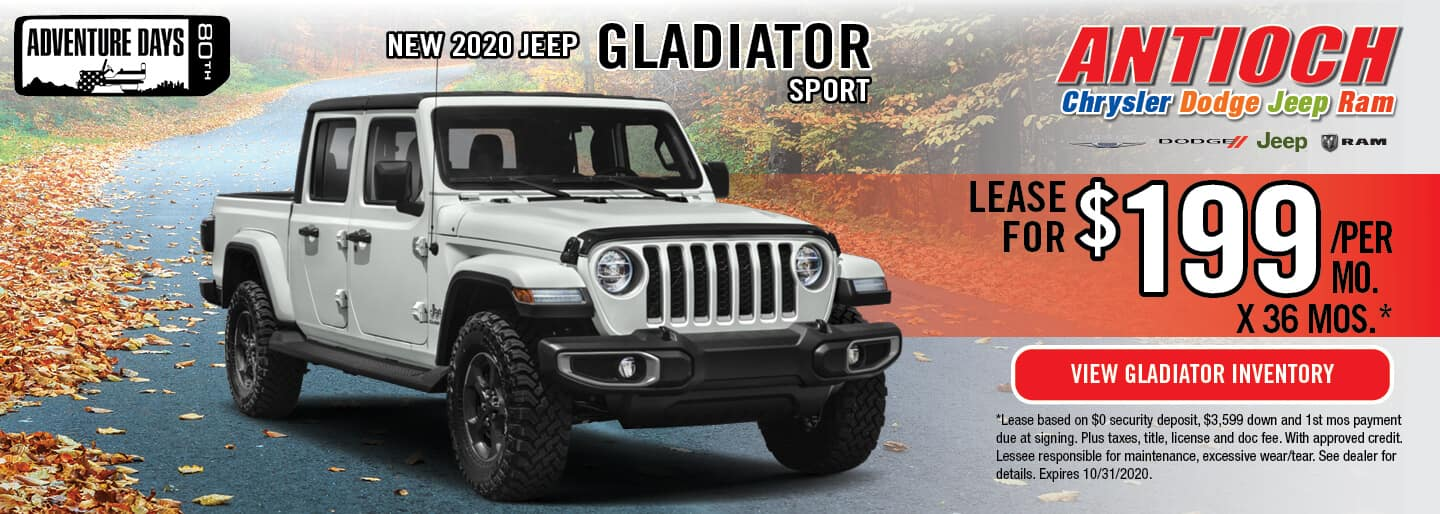 2020 Jeep Gladiator Sport | Lease for $199/Mo. x 36 Mos. | Antioch, IL