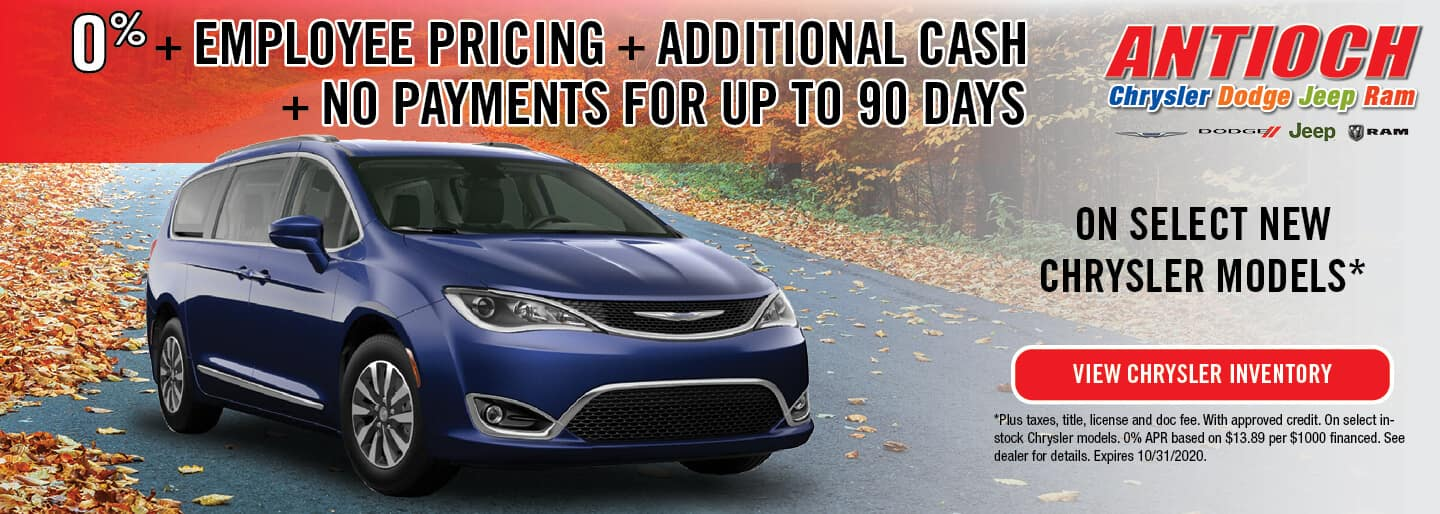 New Chrysler Models | 0% APR + Employee Pricing + Additional Cash + No Payments for 90 Days | Antioch, IL