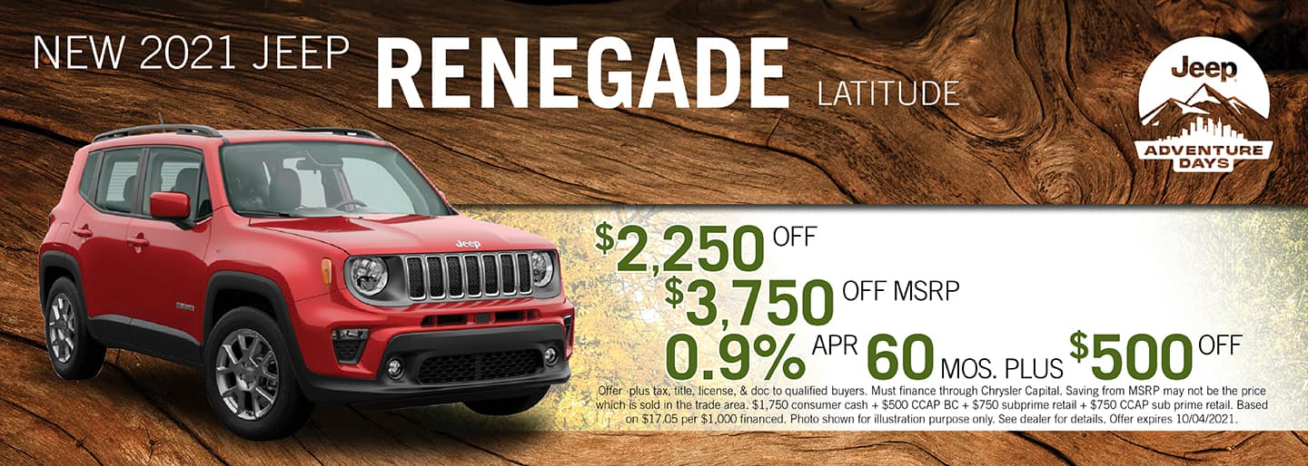 2021 Jeep Renegade Latitude $2,250 off, $3,750 off MSRP, 0.9%APR for 60 months plus $500 off