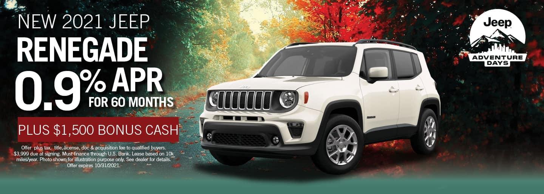 2021 Jeep Renegade 0.9% APR for 60 months plus $1500 Bonus Cash