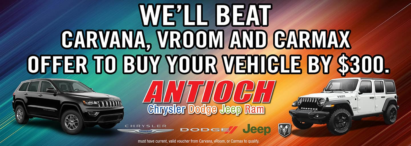 We'll beat the competition and buy your vehicle for $300 more.