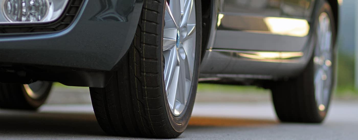 Close of car wheels