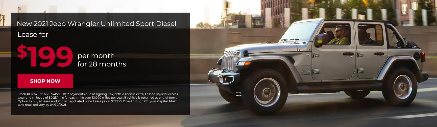 Lease a New 2021 Jeep Wrangler UNLIMITED SPORT DIESEL for $199/mo for 28mos!
