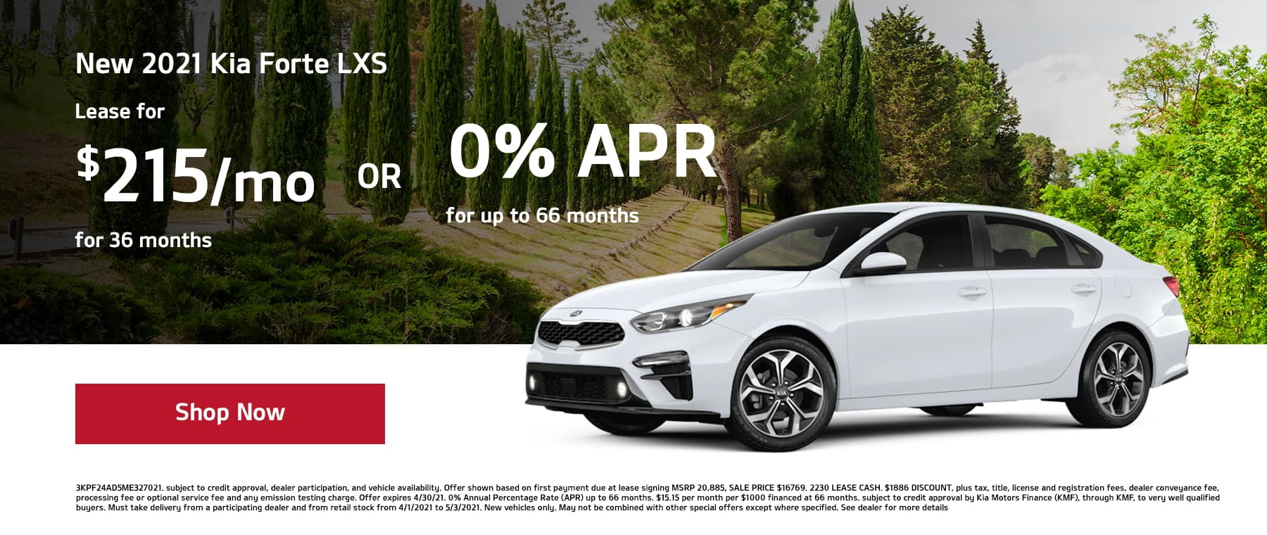 Lease a New 2021 Kia Forte LXS for $215/mo for 36mos or 0% APR for up to 66mos!