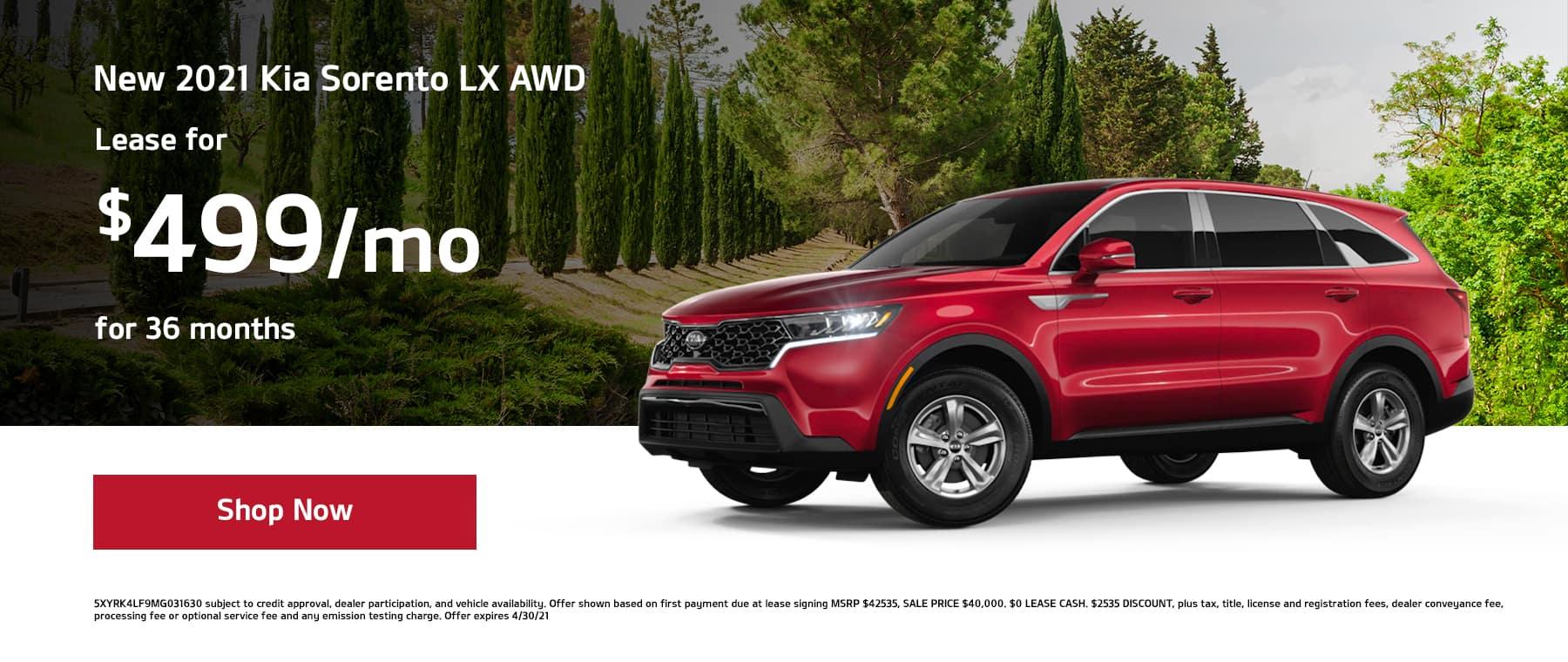 Lease a New 2021 Kia Sorento LX AWD for $499/mo for 36mos!
