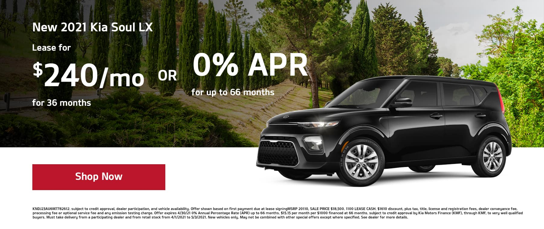 ease a New 2021 Kia Soul LX Soul for $240/mo for 36mos or 0% APR for up to 66mos!