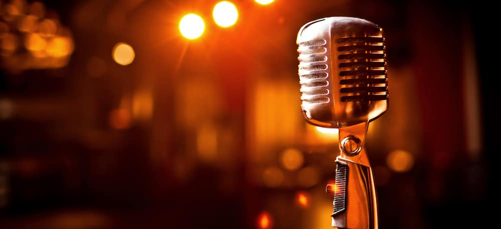 Old Fashioned Microphone on Stage