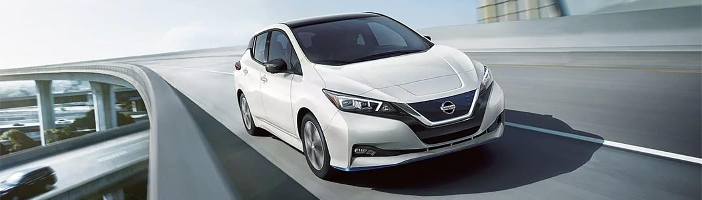 Nissan Leaf Driving on Expressway Bridge