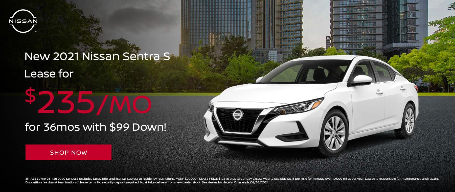 Lease a New 2021 Nissan Sentra S for $235/mo for 36mos with $99 Down!