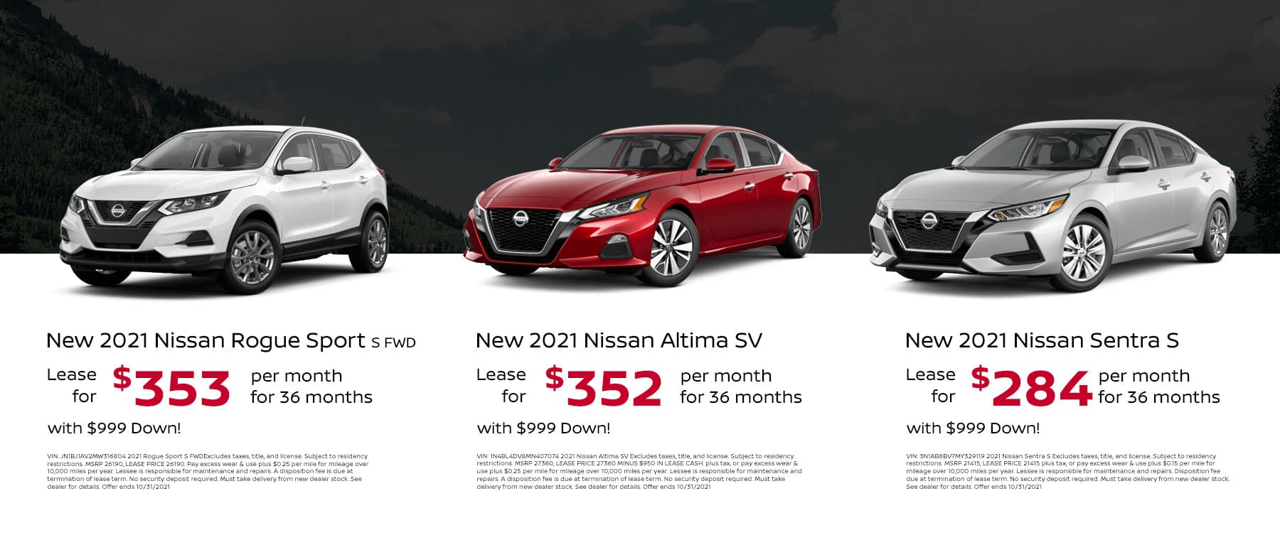 Lease a New 2021 Nissan Sentra S for $284/mo for 36mos with $999 Down!