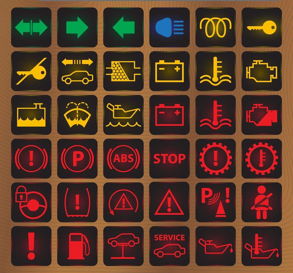 Sample Dashboard Warning Lights