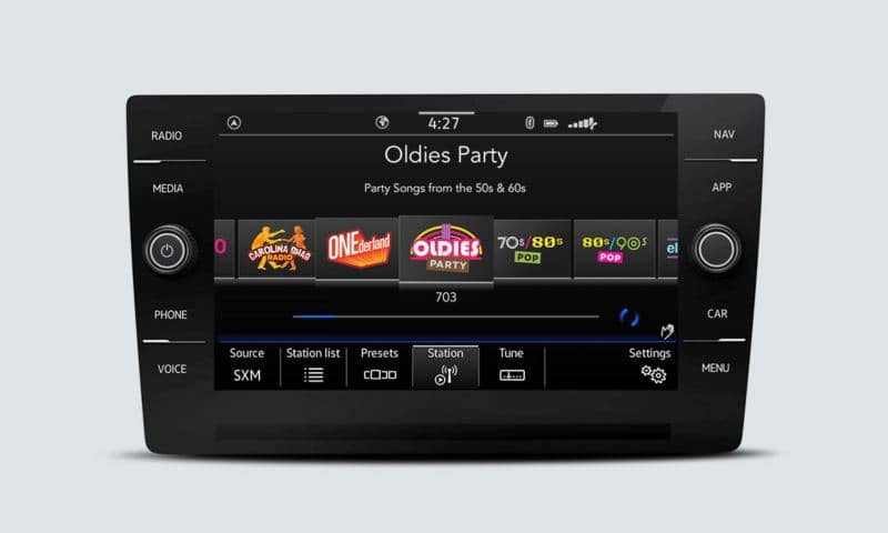 SiriusXM with 360L touchscreen interface showing channel options