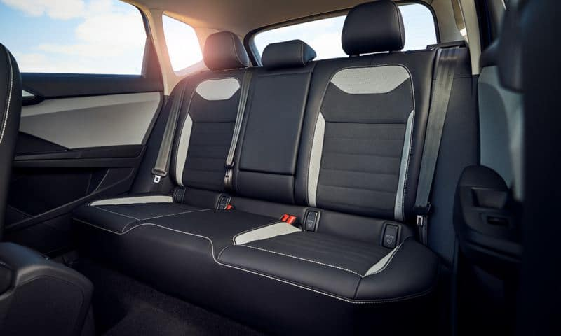 Interior shot of a VW shows the spacious back seat.