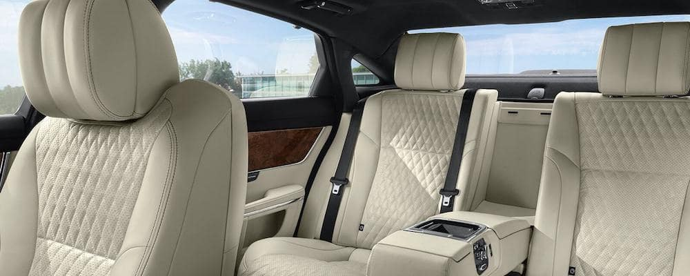 2019 Jaguar XJ interior quilted perforated leather seating in Ivory