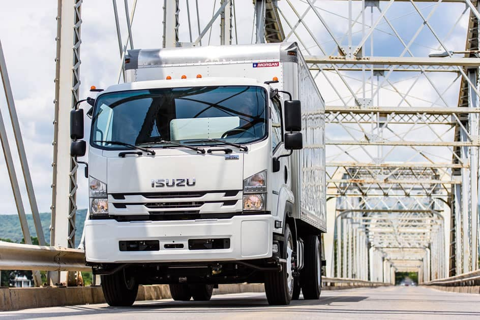 Isuzu F-Series Box Truck on bridge